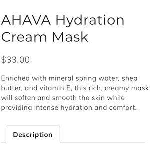 ahava Other - Ahava Hydration Cream Mask